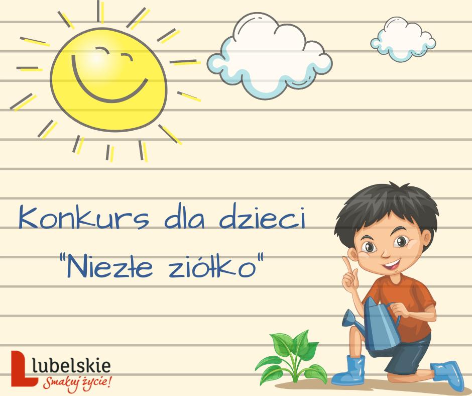 """Obraz z tekstem: Konkurs dla dziecki """"Niezłe ziółko"""""""