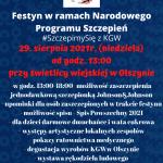 Festyn w ramach Narodowego Programu Szczepień #SzczepimySię z KGW 29 sierpnia 2021 (niedziela) o godzinie 13:00 przy świetlicy wiejskiej w Olszynie