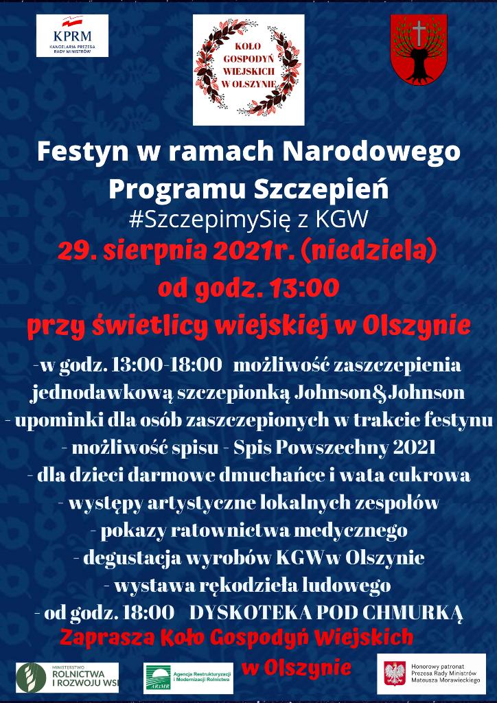 Festyn wramach Narodowego Programu Szczepień #SzczepimySię zKGW 29 sierpnia 2021 (niedziela) ogodzinie 13:00 przy świetlicy wiejskiej wOlszynie
