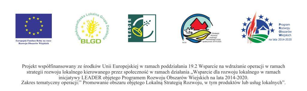 Loga UE, BLGD, LEADER, SLR 2014-2020, PROW 2014-2020