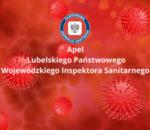Apel Lubelskiego Państwowego Inspektora Sanitarnego - logo na czerwonym tle z symbolem wirusa